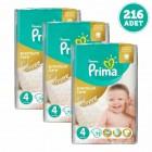 Prima Bebek Bezi Premium Care Dev Ekonomi Paketi 4 Beden 72 Adet x 3 Adet