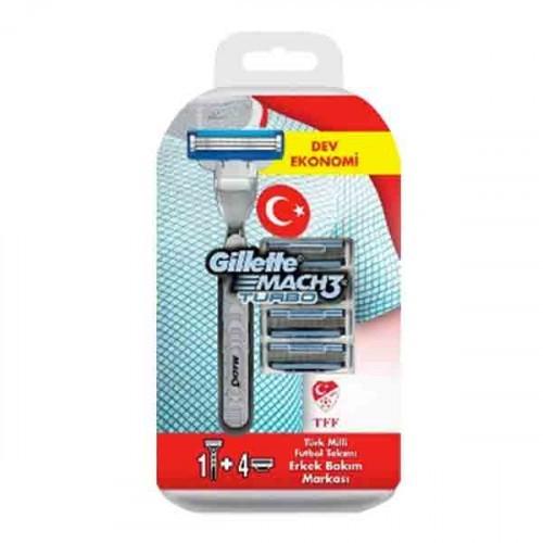 Gillette Mach3 Turbo Yedek Tıraş Bıçağı 5 li + Tıraş Makinesi