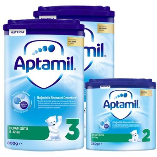 Aptamil 3 Akıllı Kutu Devam Sütü 800 gr x 2 Adet + 2 Numara 350 gr