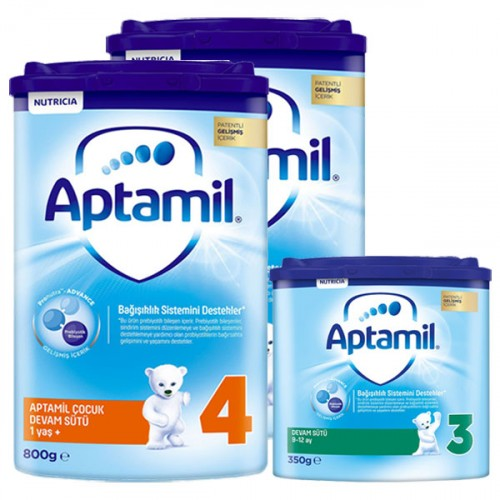 Aptamil 4 Akıllı Kutu Devam Sütü 800 gr x 2 Adet + 3 Numara 350 gr