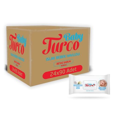 Baby Turco Beyaz Sabun Kokulu Islak Havlu 90 lı x 24 Adet