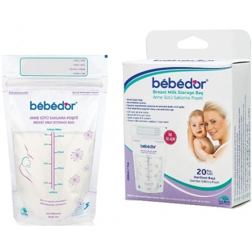 Bebedor Kilitli Anne Sütü Saklama Poşeti 20 li