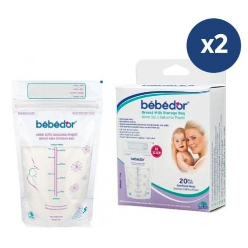 Bebedor Kilitli Anne Sütü Saklama Poşeti 20 x 2 Adet