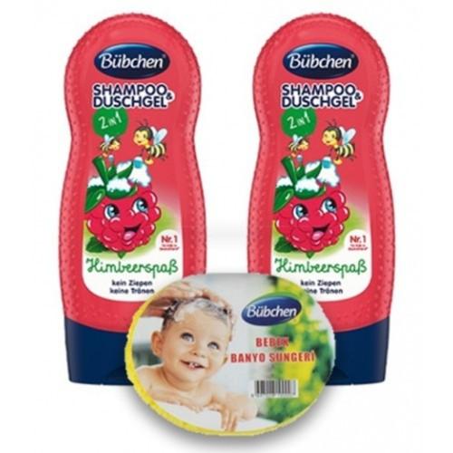 Bübchen Frambuazlı Çocuk Şampuanı ve Duş Jeli 230 ml 2 li + Sünger