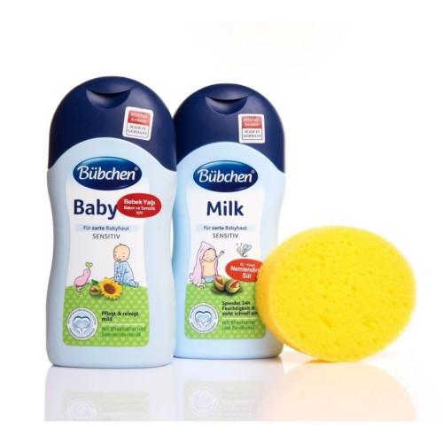 Bübchen Şampuan 400 ml + Bebek Yağı 400 ml + Sünger