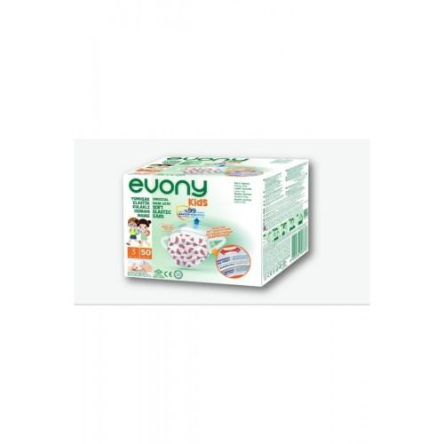 Evony Kids Yumuşak Elastik Kulaklı Renkli Çocuk Maskesi 50 li