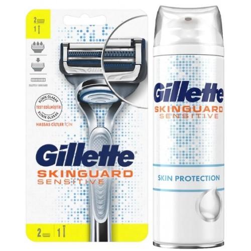 Gillette Skinguard Tıraş Makinesi 2 Yedekli + Tıraş Köpüğü 250 ml