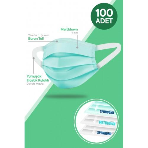 Happy Yumuşak Elastik Kulaklı 3 Katlı Telli Yeşil Cerrahi Maske 100 lü