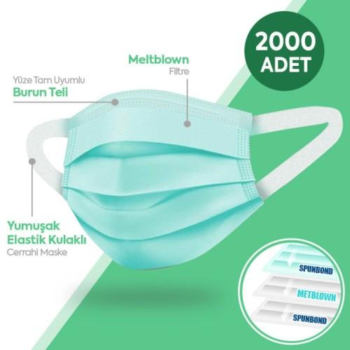 Happy Yumuşak Elastik Kulaklı 3 Katlı Telli Yeşil Cerrahi Maske 2000li