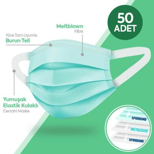 Happy Yumuşak Elastik Kulaklı 3 Katlı Telli Yeşil Cerrahi Maske 50 li