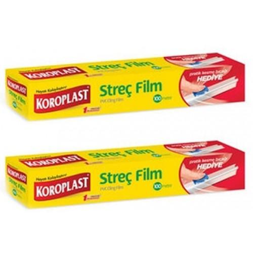 Koroplast Streç Film 100 mt (Kesme Bıçağı Hediye) x 2 Adet