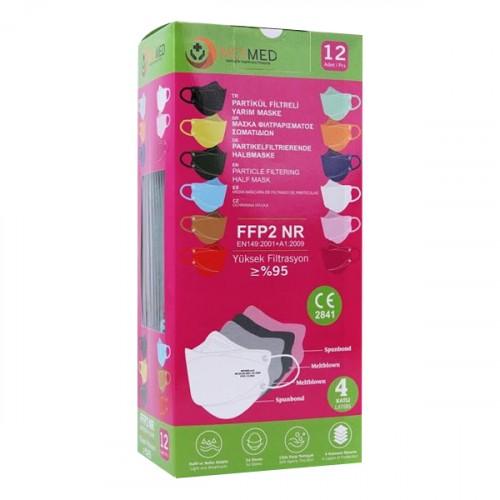 Meymed 4 Katlı Partikül Filtreli Yarım Maske Renkli 12 li