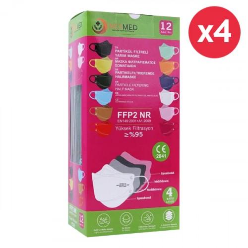 Meymed 4 Katlı Partikül Filtreli Yarım Maske Renkli 12 li x 4 Adet