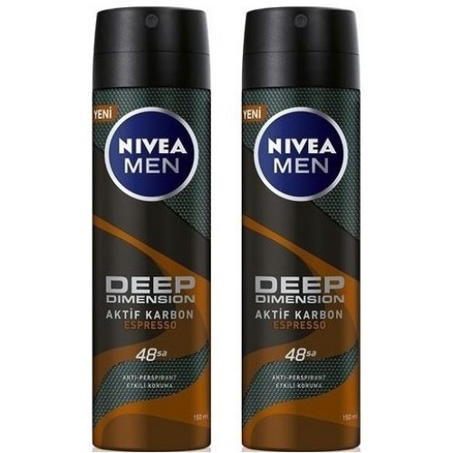 Nivea Men Deep Dimension Espresso Deodorant 150 ml x 2 Adet