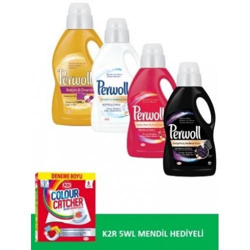 Perwoll 1 Litre Çeşitleri 4 lü Set + Renk Koruyucu Mendil Hediyeli