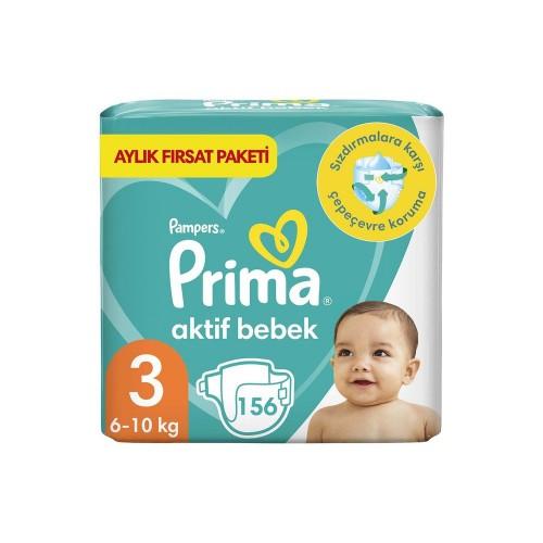 Prima Bebek Bezi Aktif Bebek 3 Beden 156 Adet Aylık Fırsat Paketi