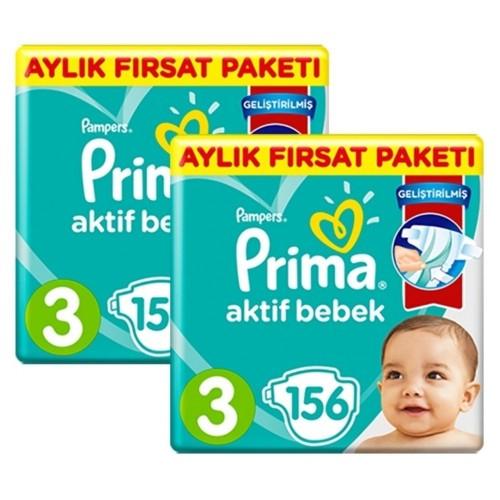 Prima Pampers Bebek Bezi Aktif Bebek Aylık 3 No 156 lı x 2 Adet
