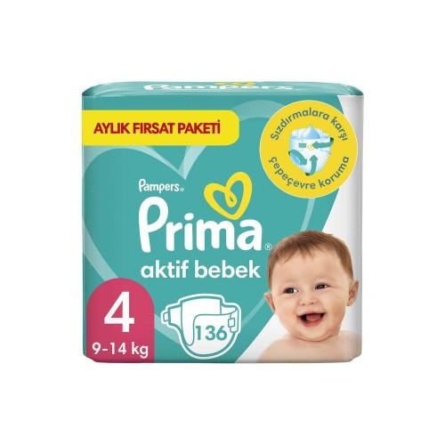 Prima Bebek Bezi Aktif Bebek 4 Beden 136 Adet Aylık Fırsat Paketi