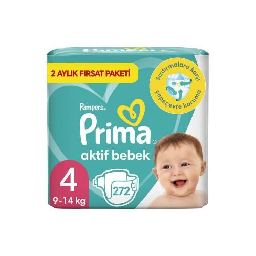 Prima Bebek Bezi Aktif Bebek 4 Beden 136 Adet Aylık Fırsat Paketi x 2 Adet