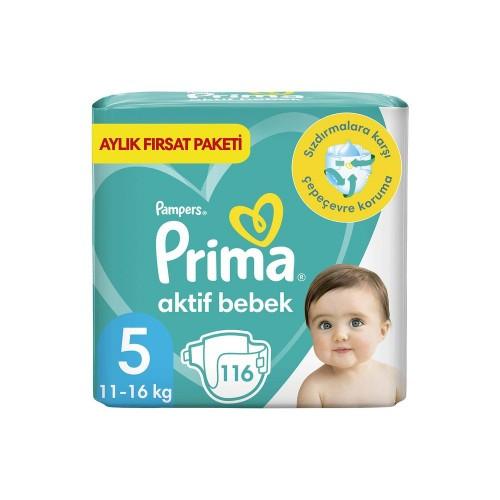 Prima Pampers Bebek Bezi Aktif Bebek Aylık Paket Junior 5 No 116 lı