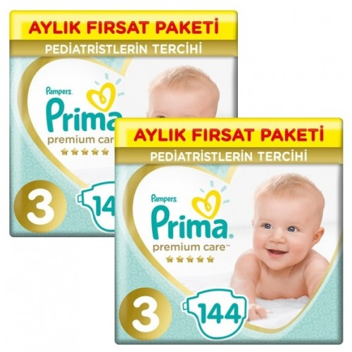 Prima Bebek Bezi Premium Care 3 Beden 144 Adet Aylık Fırsat Paketi x 2 Adet