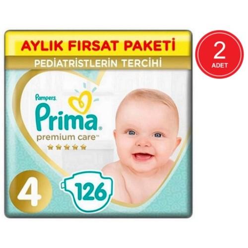 Prima Bebek Bezi Premium Care 4 Beden 126 Adet Aylık Fırsat Paketi x 2 Adet