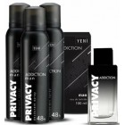 Privacy Addiction Edt Erkek Parfüm 100 ml + 3 lü Deodorant 150 ml