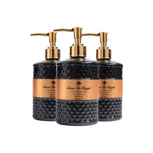 Savon De Royal Luxury Vegan Sıvı Sabun Black Pearl 500 ml x 3 Adet