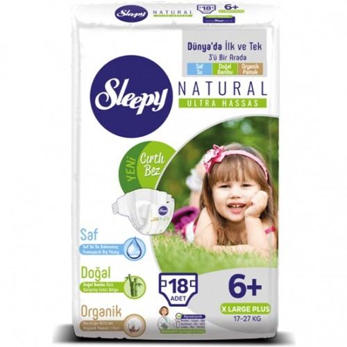 Sleepy Natural Bebek Bezi X Large Plus 6+ No 18 li