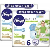 Sleepy Natural Külot Bez Mega Paket X Large 6 No 80 li x 2 Adet