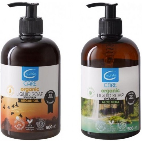 The LifeCo Care Organik Aloe Vera 500 ml +Argan Yağı Sıvı Sabun 500 ml