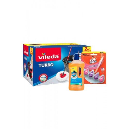 Vileda Turbo Pedallı Temizlik Seti +Ahşap Temizleyici +Klozet Blok