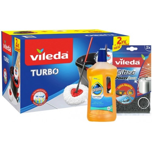 Vileda Turbo Pedallı Temizlik Seti +Inox Ped +Ahşap Temizleyici 750 ml