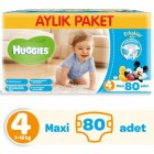 Huggies Erkek İçin Aylık Paket Bebek Bezi Maxi 4 No 80 li
