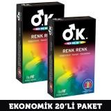 Okey Prezervatif Renk Renk 10 lu x 2 Adet