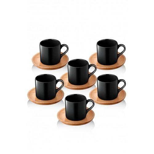 Queen's Kitchen Doğal Ahşap Tabaklı 6 Kişilik Kahve Takımı-Siyah
