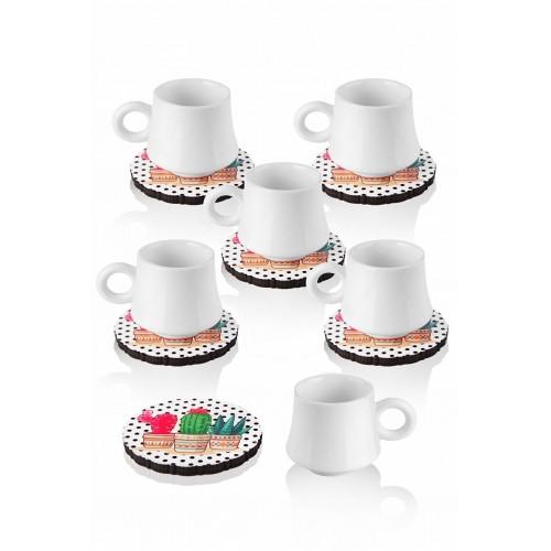 Queen's Kitchen 6 Kişilik Kaktüs Tabaklı Türk Kahvesi Takımı-Beyaz