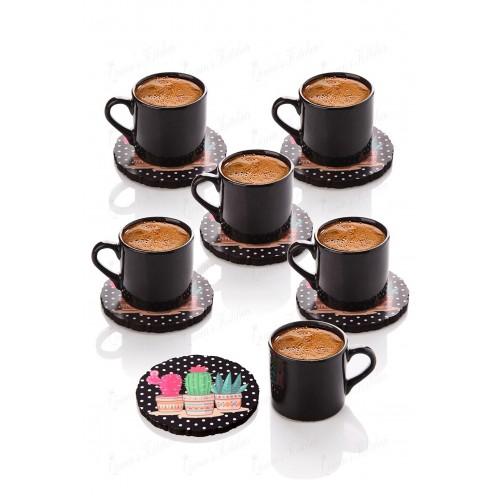 Queen's Kitchen 6 Kişilik Kaktüs Tabaklı Türk Kahvesi Takımı-Siyah
