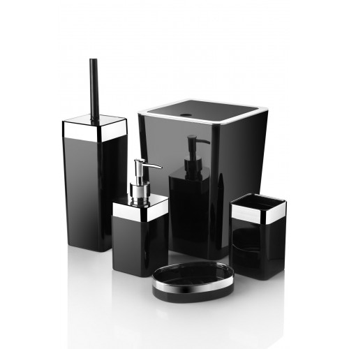 Queen's Kitchen 5 Parça Akrilik Metalize Kaplamalı Lüx Banyo Seti-Siyah
