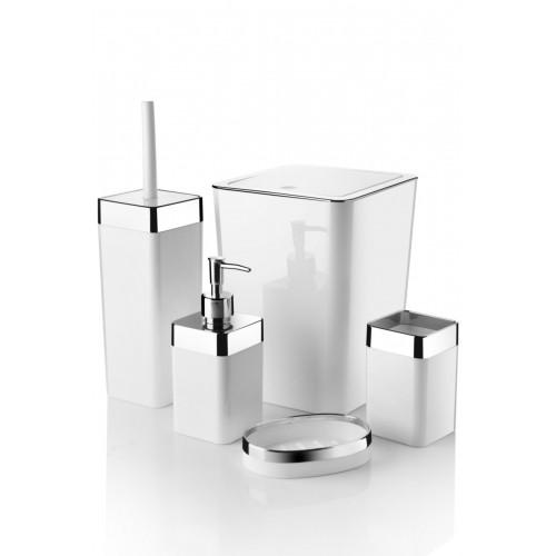 Queen's Kitchen 5 Parça Akrilik Metalize Kaplamalı Lüx Banyo Seti-Beyaz