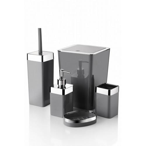 Queen's Kitchen 5 Parça Akrilik Metalize Kaplamalı Lüx Banyo Seti-Gri