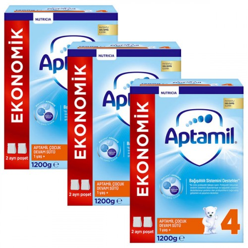Aptamil 4 Çocuk Devam Sütü Yeni Formül 1200 gr x 3 Adet