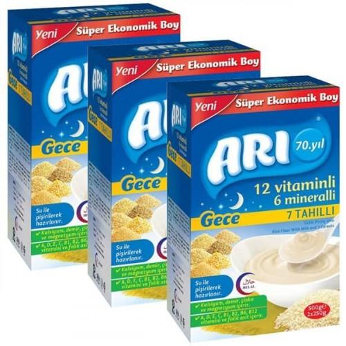 Arı Mama Sütlü 7 Tahıllı (Gece) Sütlü Pirinç Unu 500 gr x 3 Adet