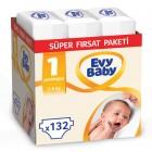 Evy Baby Bebek Bezi 1 Beden Yenidoğan Süper Fırsat Paketi 132 Adet