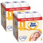 Evy Baby Bebek Bezi 1 Beden Yenidoğan Süper Fırsat Paketi 264 Adet