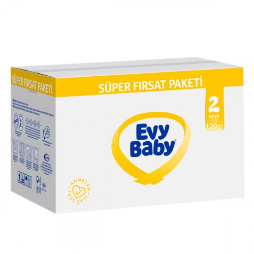 Evy Baby Bebek Bezi 2 Beden Mini Süper Fırsat Paketi 120 Adet