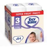 Evy Baby Bebek Bezi 3 Beden Midi Süper Fırsat Paketi 84 Adet