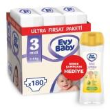 Evy Baby Bebek Bezi 3 Beden Midi Ultra Fırsat Paketi 180 Adet (Şampuan Hediyeli)
