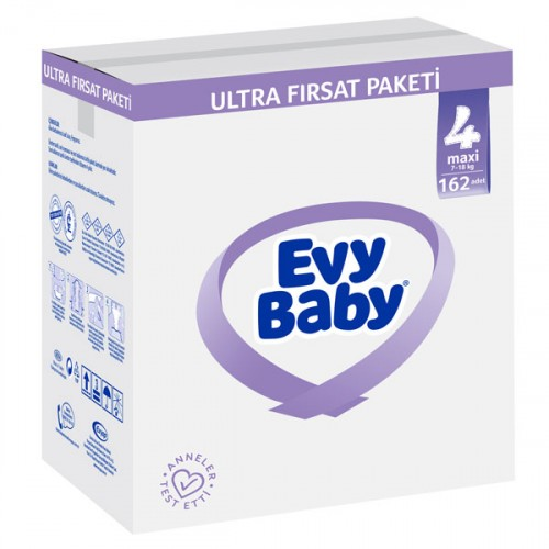 Evy Baby Bebek Bezi 4 Beden Maxi Ultra Fırsat Paketi 162 Adet (Şampuan Hediye)
