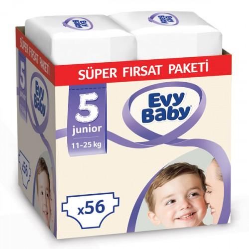 Evy Baby Bebek Bezi 5 Beden Junior Süper Fırsat Paketi 56 Adet